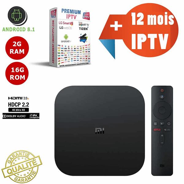TV Box XIAOMI MI BOX S / 2GB RAM + 8GB ROM Android 8.1 Quad Core + 12 mois d'abonnement Premium IP TV
